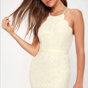 Lulus white halter lace dress